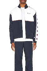 Champion Reverse Weave Full Zip Top in Navy & White & Red