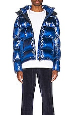 Champion Reverse Weave Melange Hooded Puff Jacket in Blue Jay
