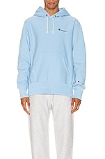 Champion Reverse Weave Small Script Hood Sweatshirt in Blue Bell