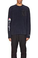 Champion Reverse Weave Sleeve Script Sweatshirt in Navy