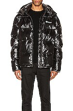 Champion Reverse Weave Hooded Puff Jacket in Black