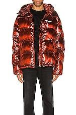 Champion Reverse Weave Melange Hooded Puff Jacket in Red Spark