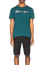Champion Reverse Weave Big Script T-Shirt in Jeweled Jade