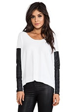 Sewanee Vegan Leather Sleeve Sweater in White
