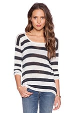 Austin Asymmetrical Pullover Sweater in Black & White