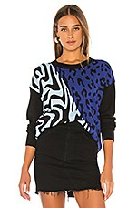 Central Park West Bangkok Pullover Sweater in Blue Animal
