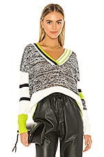 Central Park West Berlin V Neck Sweater in Lime Combo