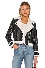 Central Park West Faux Fur Hunter Moto Jacket in Black