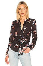 Central Park West Sanctuary Tie Waist Blouse in Black Floral