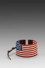 CHAN LUU American Flag Bracelet in Red Mix/Brown
