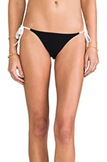 String Bikini Bottoms in White/Black