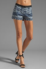 Fitted Shorts in Blue Patchwork
