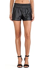 Faux Leather Track Short in Black