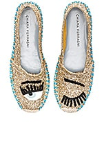 Contrast Stitching Espadrille en Or & Turquoise