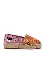 Two Tone Espadrille en Orange & Fuchsia