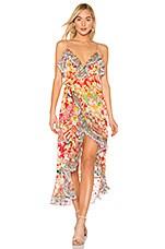 Camilla Long Wrap Dress in Kimono Kisses