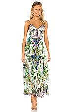 Camilla Tie Front Long Dress in Moon Garden