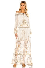 Camilla Off Shoulder Shirred Dress in The Queen