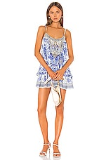 Camilla Flared Overlayer Romper in Painted Provincial