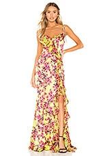Cinq a Sept Velma Gown in Lemon Grass Multi