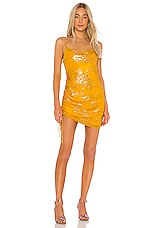 Cinq a Sept Jacquard Astrid Dress in Citrine & Gold