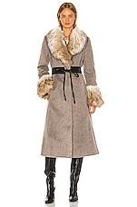 Cinq a Sept Irina Coat in Charcoal & Natural