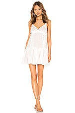 CHIO Ruffles and Lace Mini Dress in White