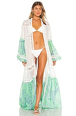 CHIO Macrame And Pom Pom Long Robe in Mint