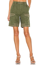 Citizens of Humanity Lily High Waisted Surplus Short in Olive Green & Aloe