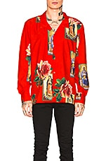 Civil Regime Holy Floral Long Sleeve Shirt in Red