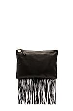Fringe Flat Clutch in Black Leather