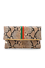 Clare V. Foldover Clutch in Cortado Spring Snake & Emerald Poppy Stripes