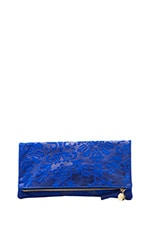 Foldover Clutch Brocade in Royal Blue