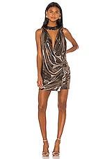 Caroline Constas Plisse Dress in Bronze