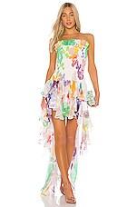 Caroline Constas Lola Smocked Dress in White Multi