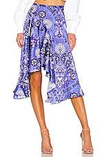Caroline Constas Flounce Skirt in Blue Multi