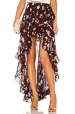 Caroline Constas Adelle Ruffle Skirt in Bordeaux
