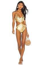 Caroline Constas Irini Tie Knot One Piece in Gold