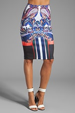 Geometric Owl Neoprene Skirt in Multi