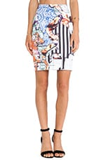 Floral Silhouettes Neoprene Skirt in Multi