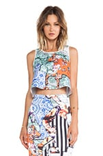 Floral Silhouettes Neoprene Crop Top in Multi