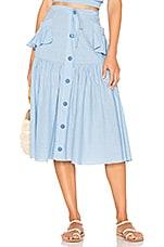 CLUBE BOSSA Fara Midi Skirt in Riv Blue