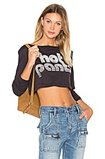 Hot Pant Long Sleeve Cropped Tee en Charcoal