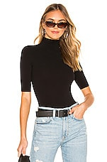 Commando Ballet Shortsleeve Turtleneck Bodysuit in Black