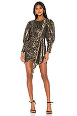 Camila Coelho Juliette Mini Dress in Gold and Black