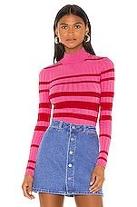 Camila Coelho Lotti Turtleneck in Pink & Red Stripe