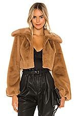 Camila Coelho Cleobella Cropped Faux Fur Jacket in Light Walnut
