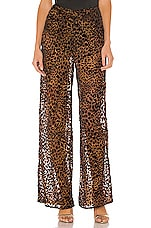 Camila Coelho Ivanna Pant in Brown Leopard