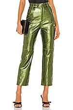 Camila Coelho Sammy Leather Cargo Pant in Moss Green
