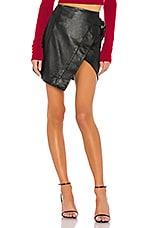Camila Coelho Madeline Leather Mini Skirt in Black